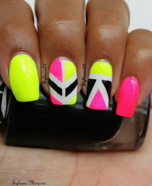 Geometric Neon Nail Art.