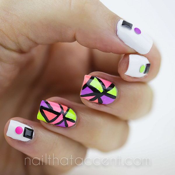 Black Outlined Neon Nail Art.