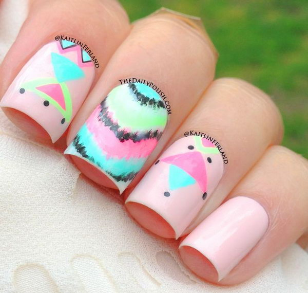 Neon Tribal Print Nail Art.