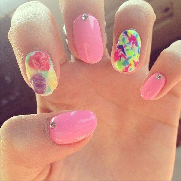 Floral and Neon Nail Art.