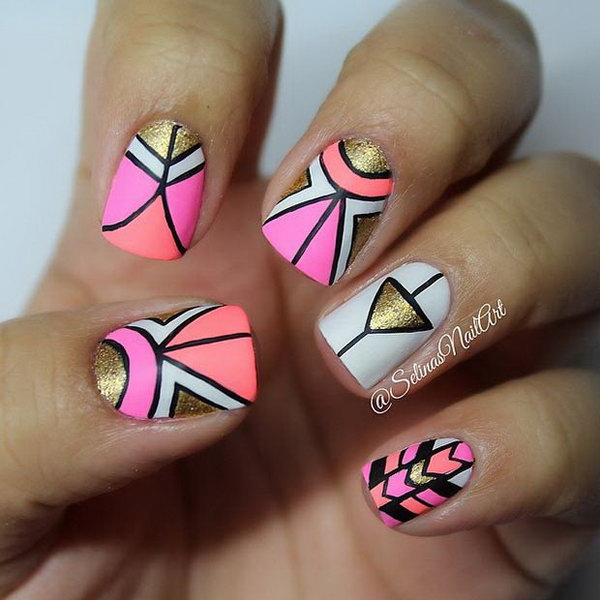 Gold and Neon Tribal Nails.