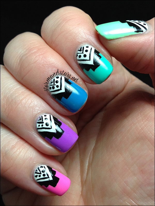 Neon Tribal Nail Art. Get the tutorial