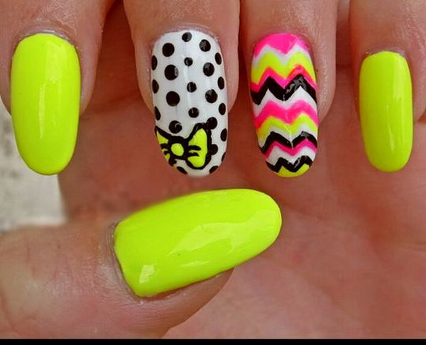 Polka Dots and Bow Neon Nail Design.