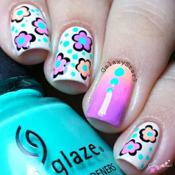 Cream Base with Neon Flowers and Dots Accent Nails.
