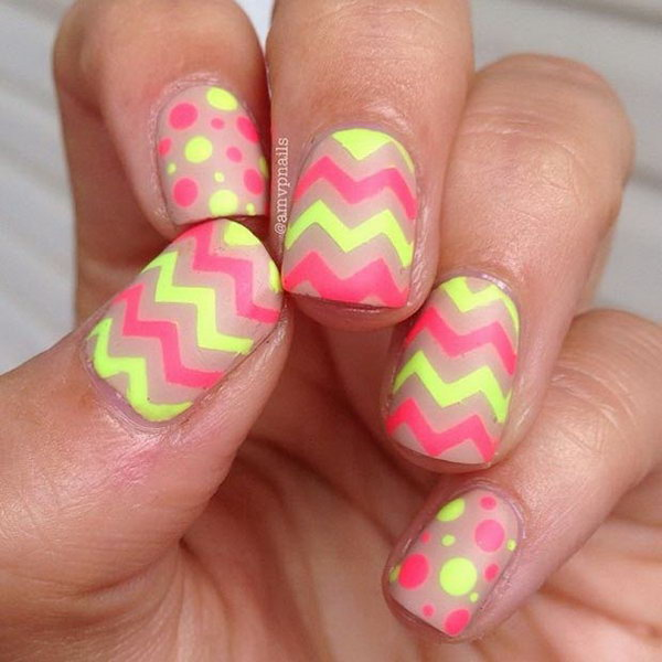 Neon Chevron and Polka Dots Nails.