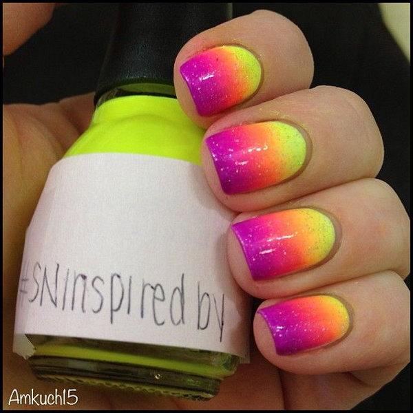 Ombre Neon Nail Design.