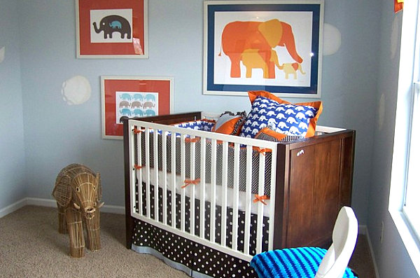 Elephant themed modern nursery.