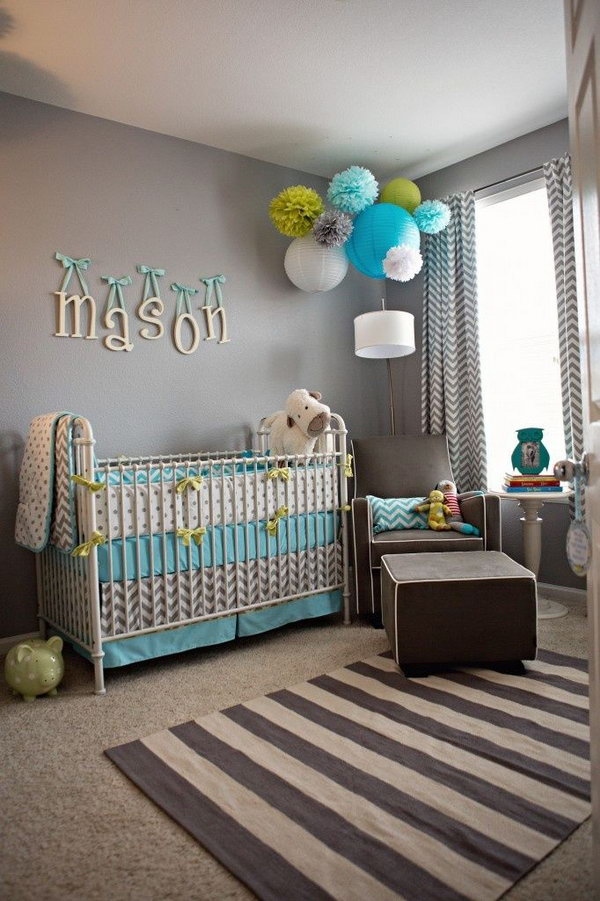 Grey and Blue Themed Nursery.