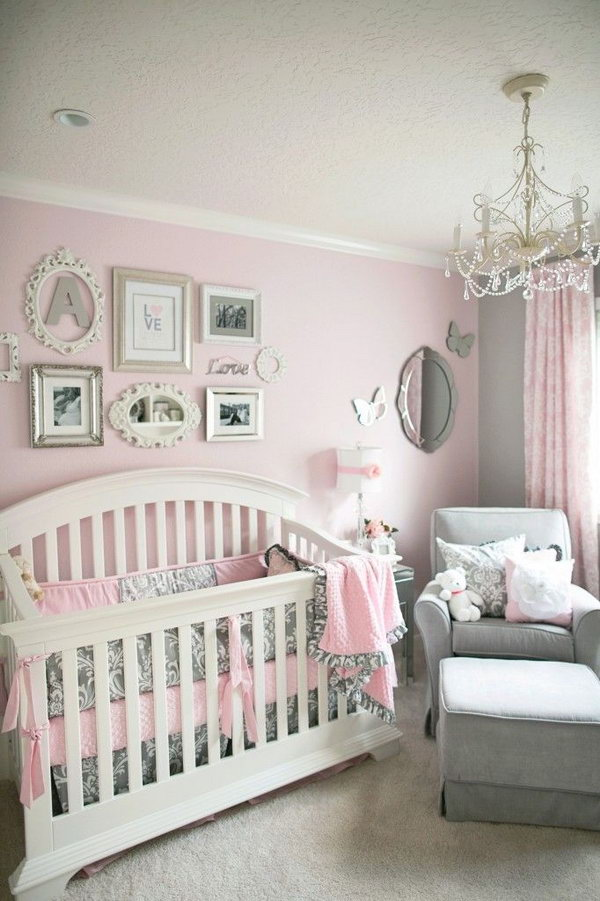 Feminine Gray and Pink Nursery.