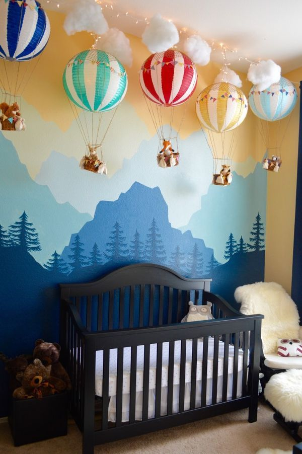 Gorgeous Mural and Hot Air Balloon Decor.