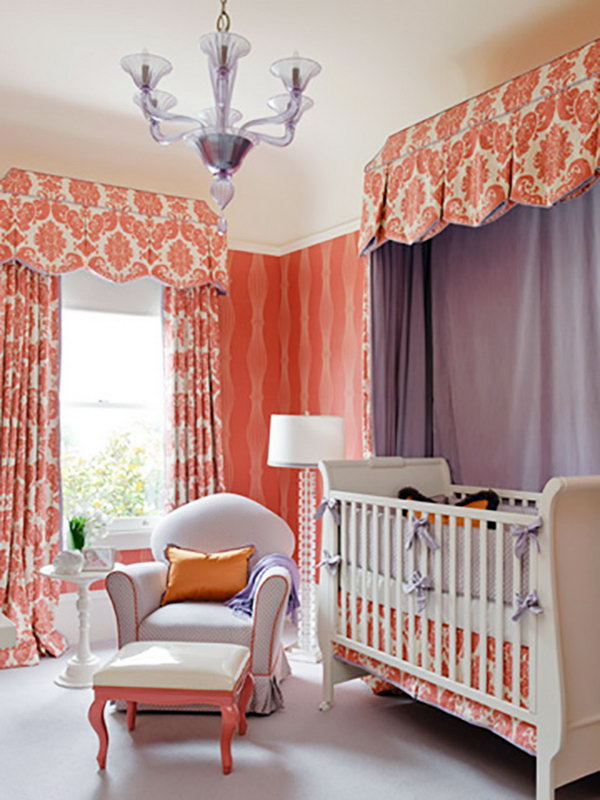 Peach Damask Curtains.