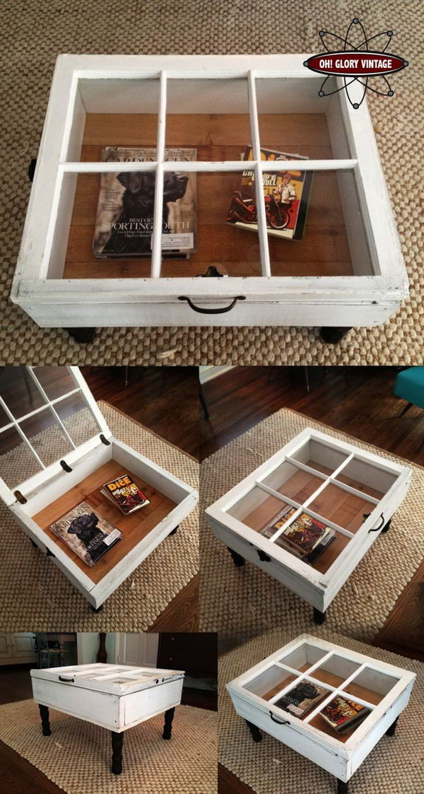 Repurpose Old Windows to Vintage Coffee Table.
