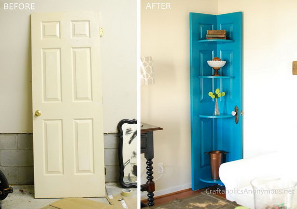Turn an Old Vintage Door into a Corner Door Shelf.