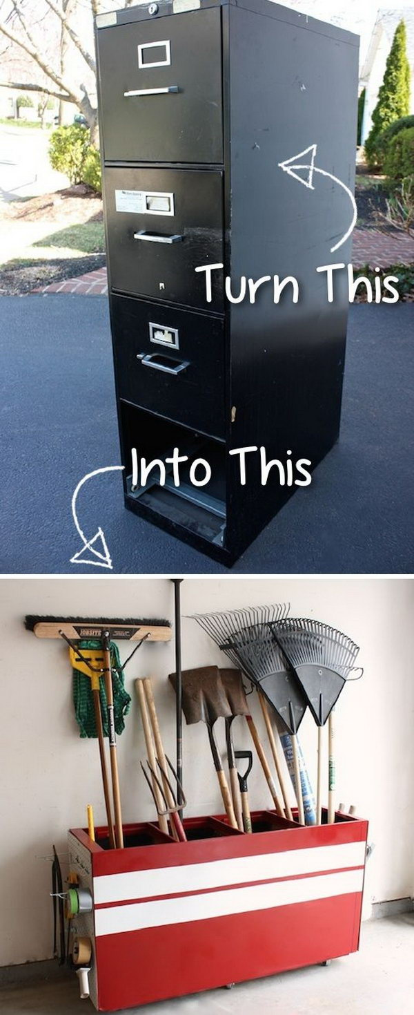 Turn an Old File Cabinet into a Garage Storage.