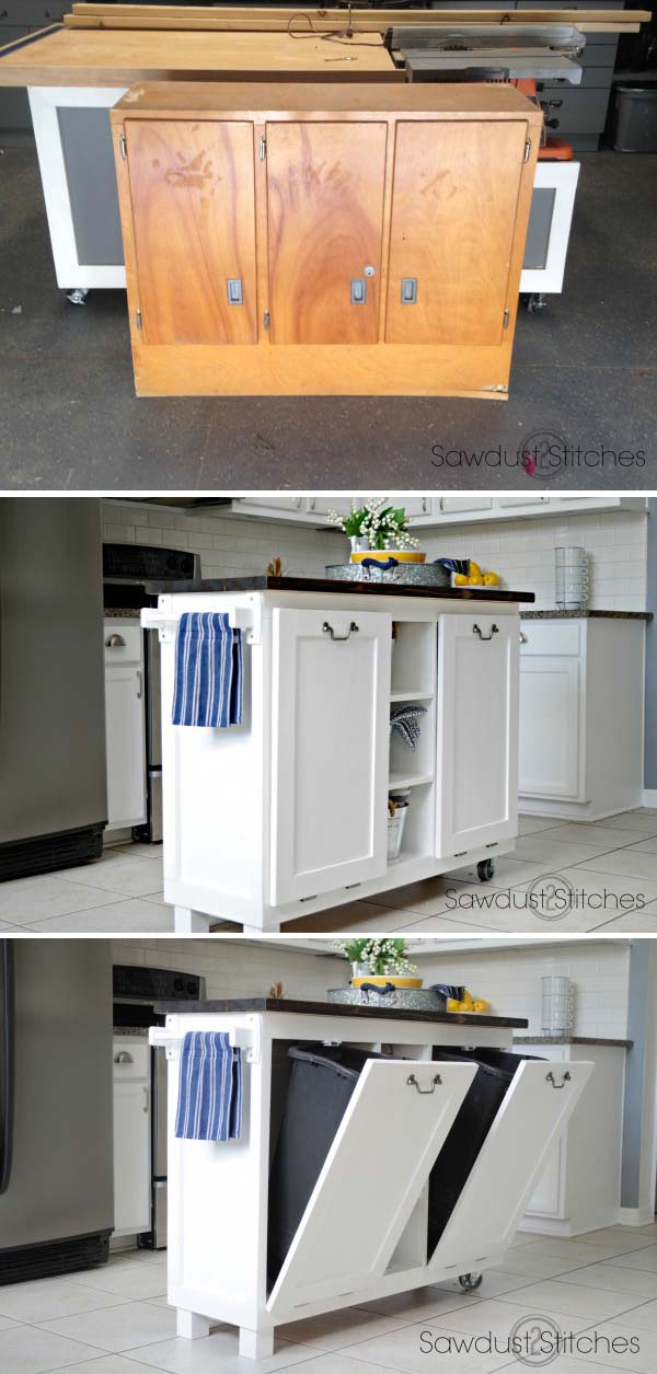 cabinet to useful kitchen island stunning repurpose from old cabinet