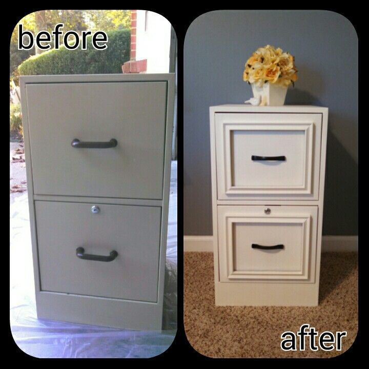 Unusual furniture hack: Turn a filing cabinet to expensive looking night stand! See more instructions.
