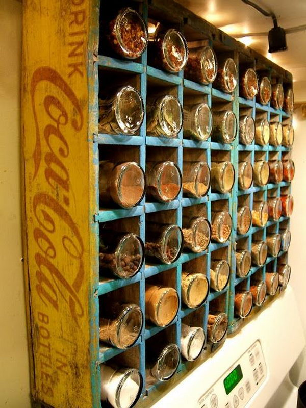 Turn a Vintage Coca Cola Bottle Crate into a Spice Rack.