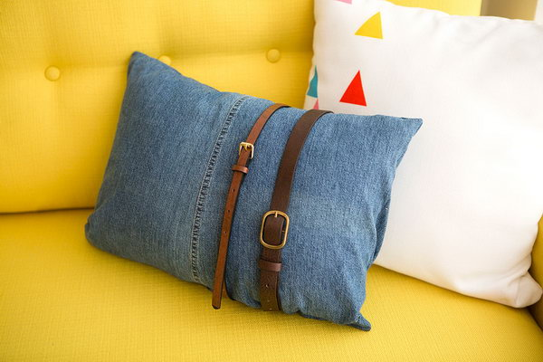 DIY Old Denim Pillow. See the tutorial