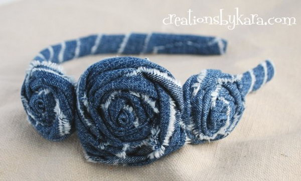 DIY Denim Rosette Headband. See more details