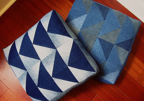 Denim Arrow Cushion. Get the tutorial