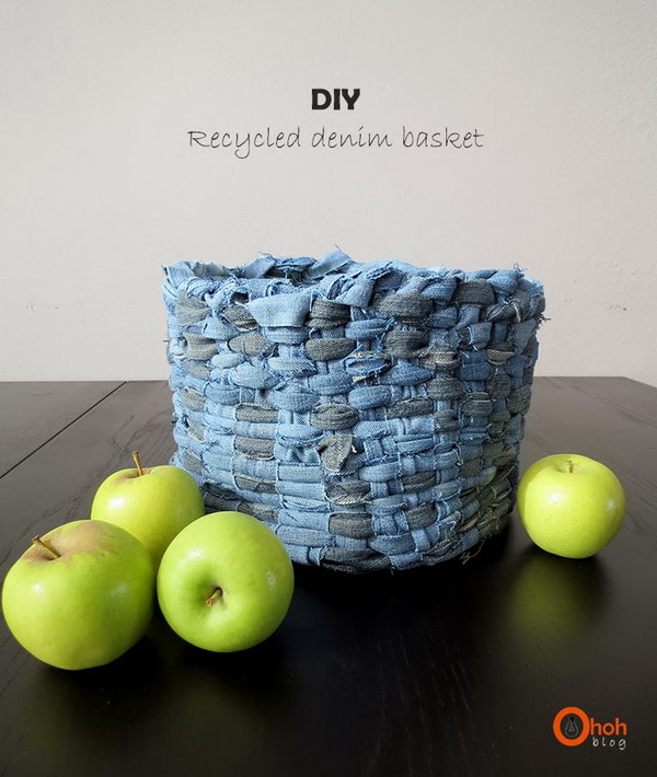 DIY Recycled Woven Denim Basket. Get the directions