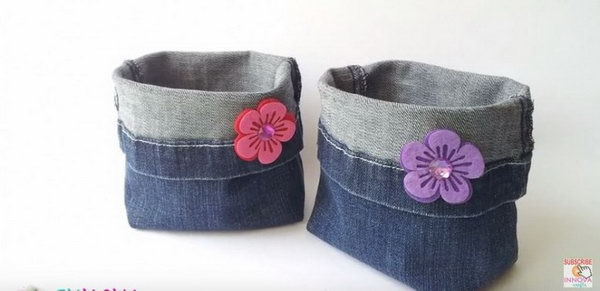 DIY Denim Buckets from Jeans. See the video tutorial