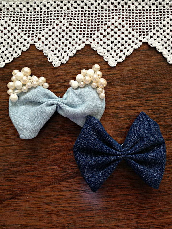 Denim Hair Bows. See how to make it
