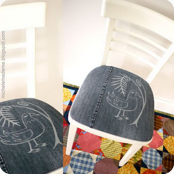 DIY Old Denim Chair Cushions. See the tutorial