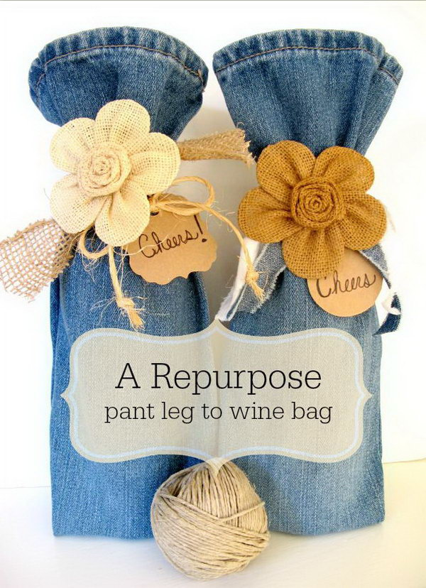 DIY Wine Bag from Old Jeans. Get the steps