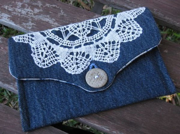 DIY Lace Denim Clutch. Get the tutorial