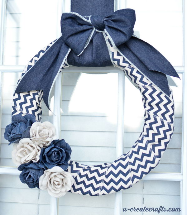 DIY Denim Chevron Wreath. See the tutorial