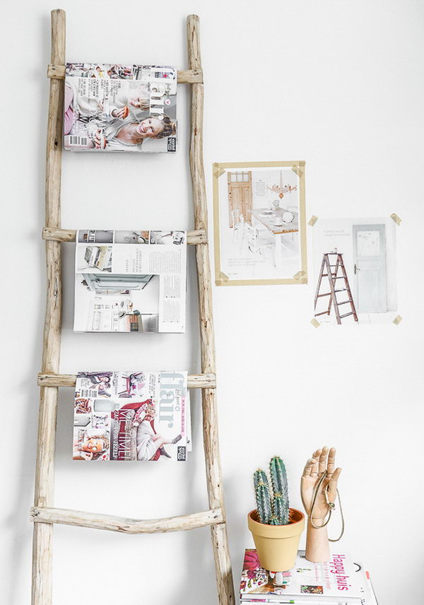 creative diy ideas to repurpose your old ladders noted list. Black Bedroom Furniture Sets. Home Design Ideas