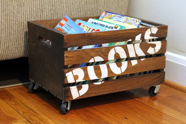 Wooden Books Storage Crate. Get more details