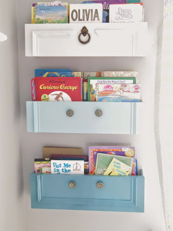 Upcycled Dresser Drawers as Bookshelves.