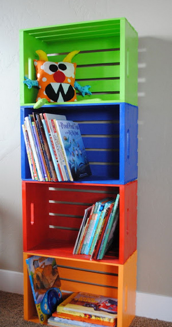 Multi color Painted Wooden Crates Bookcase. See the instructions
