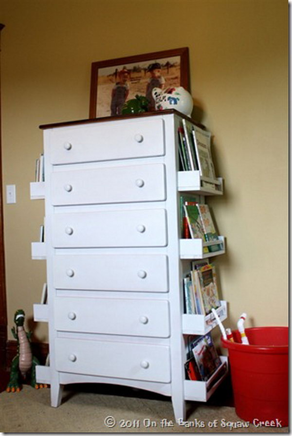DIY Bookshelf Made with the Sides of a Dresser and IKEA Spice Racks. Get the tutorial
