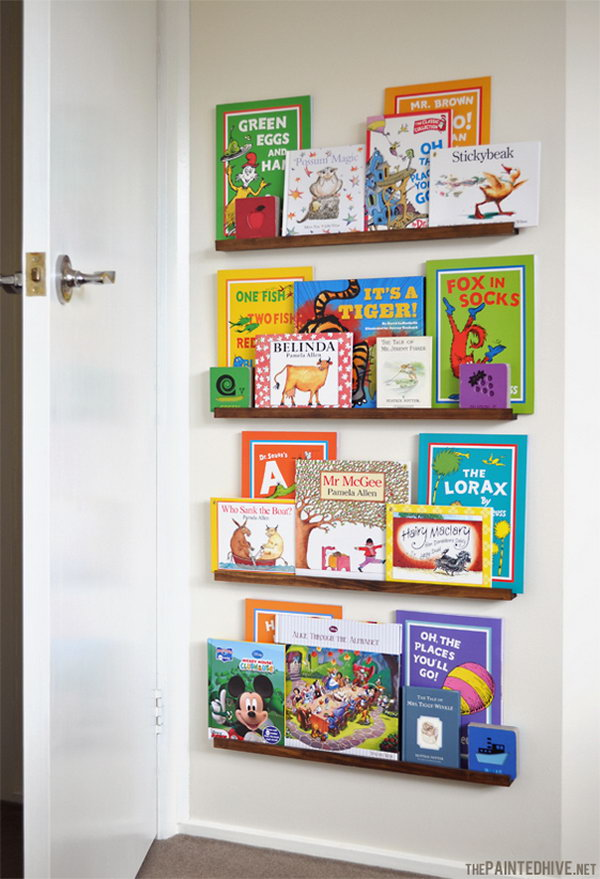 DIY Floating Bookshelves behind the Door. Get the tutorial