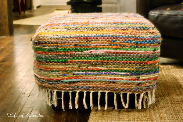 DIY Floor Pouf from Repurposed Rug. See how