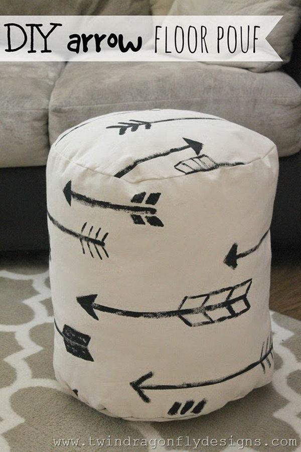 DIY Arrow Floor Pouf. See how