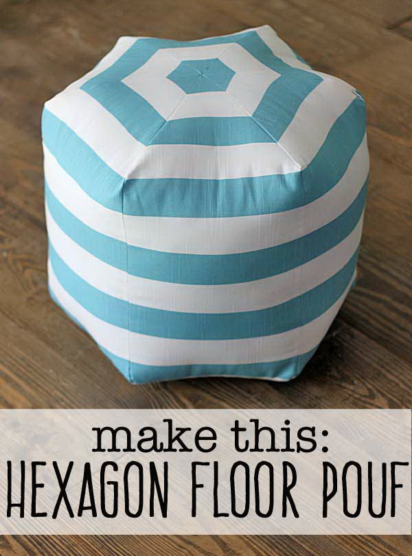 Hexagon DIY Floor Pouf. See the tutorial