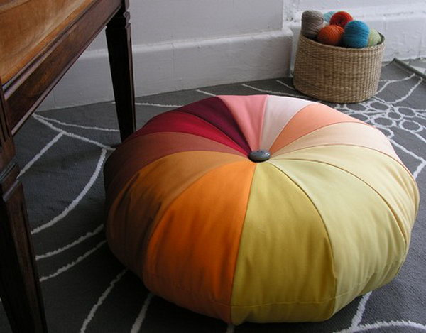 DIY Sewing Floor Pouf. Get the directions