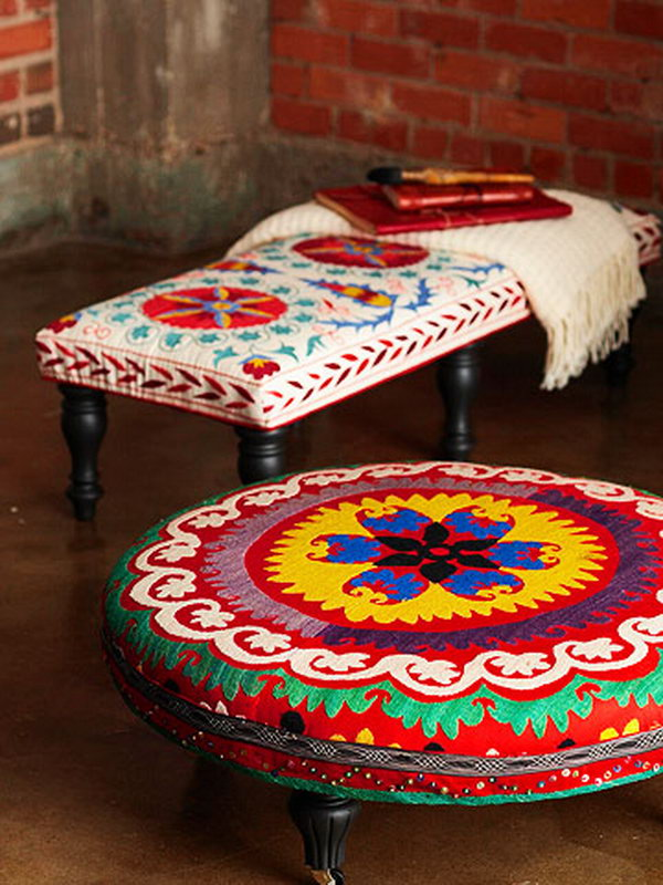 Colorful DIY Ottoman. Get the steps