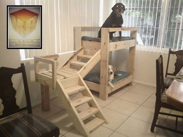 Doggy Bunkbeds Made Out Of Pallets.