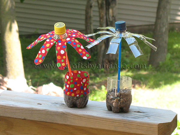 Plastic Water Bottle Flowers. This is simple to do even for preschool kids. Tutorial via