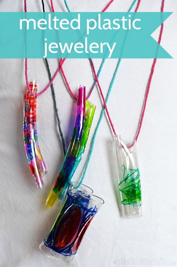 DIY Melted Bottle Jewelery. Make beautiful melted bottle jewelry and discover how heat affects plastic. Experimenting is a lot of fun for kids. Tutorial via