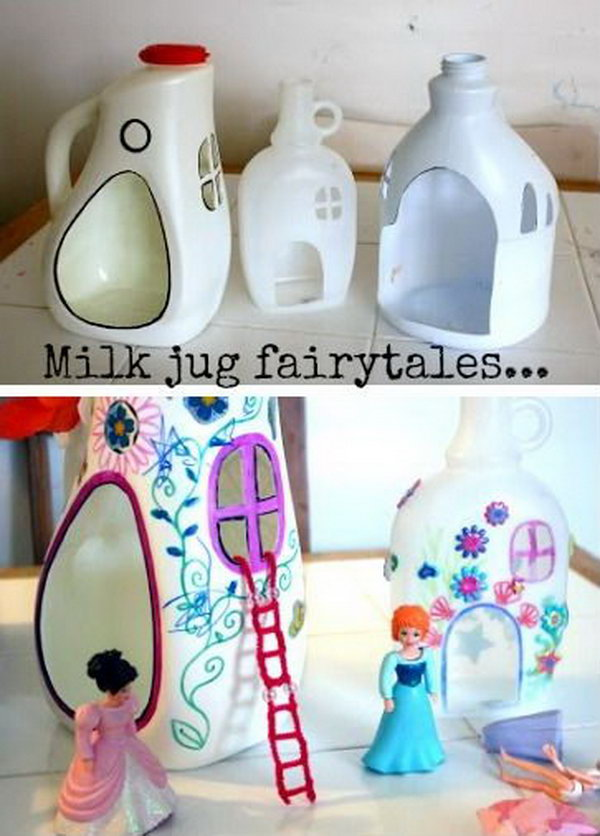 DIY Plastic Bottle Fairy Houses. Adorable idea for recycling.  It's hard to imagine a girl not in fond of fairy. Tutorial via