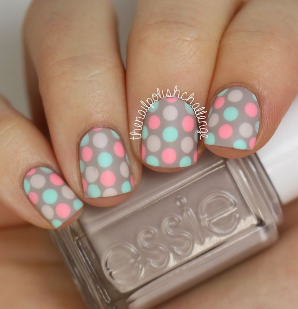 Pastel Polka Dot Nail Designs for Short Nails. If you're loving this adorable manicure and want to recreate something like this, please head over to check out the tutorial