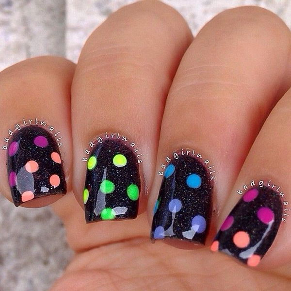 Neon Polka Dot on Black Nail Base.