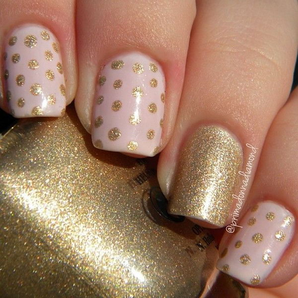 Gold Glitter and Pink Polka Dot Nails.