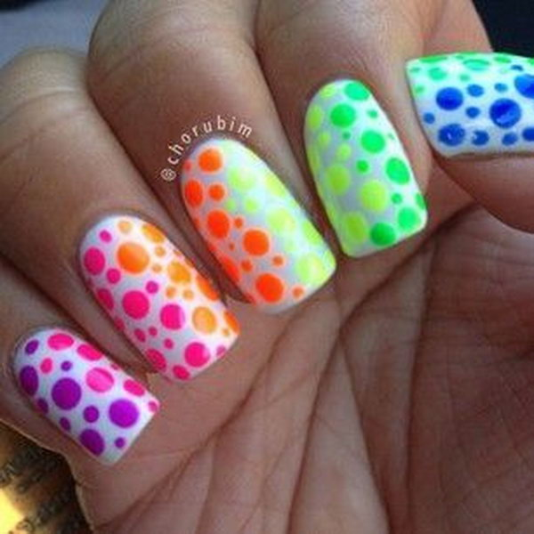Rainbow Nail Art with Polka Dots.